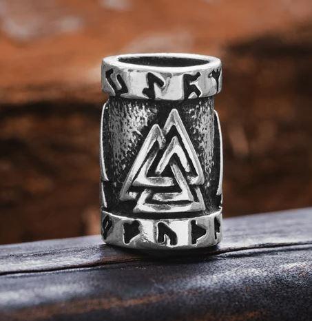 beard rings: Valknut Beard Ring -Silver