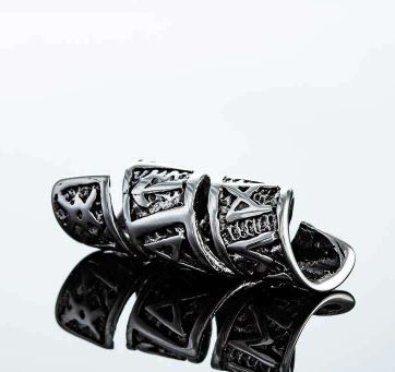 beard rings: Northern Viking Jewelry -Beard Ring Long Rune