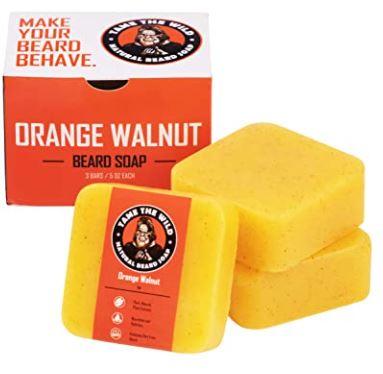 beard soap: Tame the Wild Orange Walnut Beard Soap