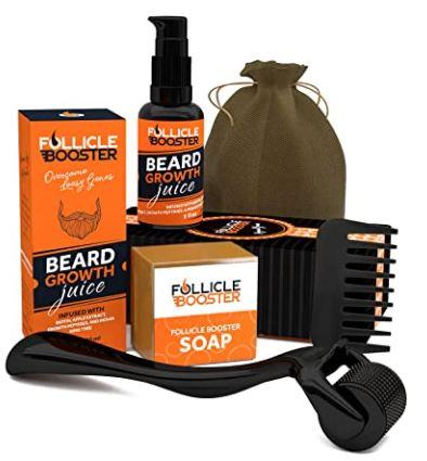 beard growth kit: FOLLICLE BOOSTER Organic Beard Growth Kit